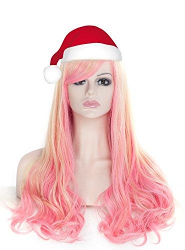 (Lang Gelockt Gewellt Perücken für Frauen vollen Kopf Rosa und Gelb Cosplay Lolita Party Perücke + Perücke Cap und Kamm)