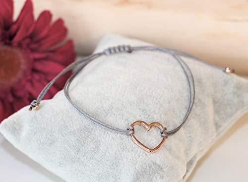 Armband mit offenem Herz in rosegold farben Makramee Freundschaftsarmband Bracelet Armband Damen Macrame rotgoldfarben Band in verschiedenen Farben erhältlich