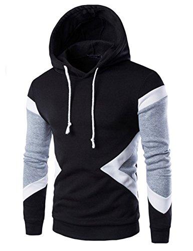 09eab81d46a58 Glestore Sweat-shirt Capuche et Slim Fit Hoodies Homme Col rond Manches  Longues Noir M