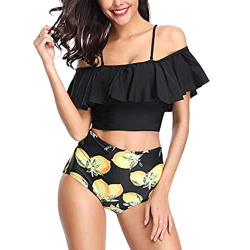 Bfmyxgs Sexy Beachwear für Frauen Damen Zwei Stücke Badeanzüge Oben gekräuselt mit hoher Taille...