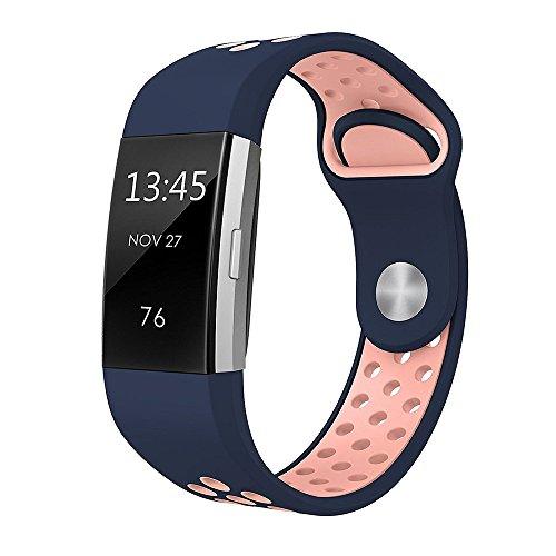 FBGood Zweifarbig Silikonband Ersatz Uhrenarmband Für Fitbit Charge 2, Freizeit Weiches Silikon Sportarmband Unisex Smart Watch Ersatzband Geschäft Armband Zubehör Mittlerer Code (C) - Faltschließe Fitbit-armband