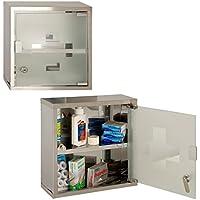 An der Wand befestigtes abschließbares 2 Schlüssel-Medizin-Kabinett-Schrank-Erste-Hilfe-Kasten-Glastür (Grau) preisvergleich bei billige-tabletten.eu