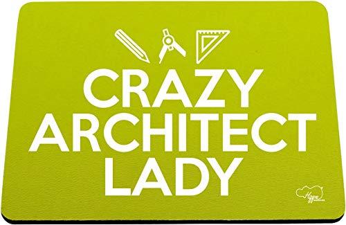 Hippowarehouse Crazy Architect Lady Alfombrilla de ratón Impresa Accesorio Base de Goma Negra 240 mm x 190 mm x 60 mm