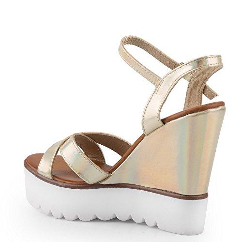 Ideal Shoes Sandales Compensées Effet Pailleté avec Semelle en Gomme Viviana Doree
