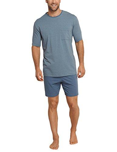 Schiesser Herren Zweiteiliger Schlafanzug Anzug Kurz Blau (Petrol 811)