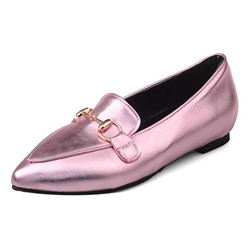 TAOFFEN Damen Comfotable Flach Casual Schuhe Pointed Toe Pumps Pink