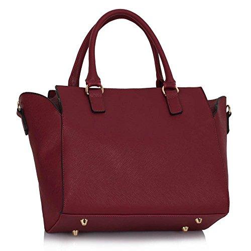 Damenhandtaschen Der Frauen Schulterbeutel Designer Neue Promi Stil Trage Groß (Lila Trage Bag1) Burgund 2