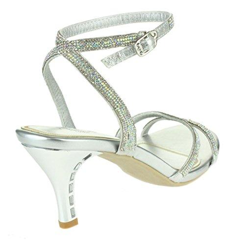 Femmes Dames Riches Cristal orné Soir Fête Mariage Prom De mariée Diamante Brillant Talon haut Sandales Chaussures Taille Argent