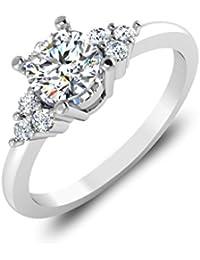 IskiUski White Gold And American Diamond Ring For Women - B075VH9QFZ