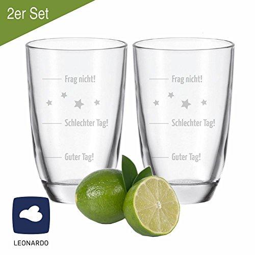 4you Design 2er Set Leonardo Gin-Gläser Guter Tag! Schlechter Tag! Frag Nicht! - Geschenkidee - Weihnachten - Geburtstag