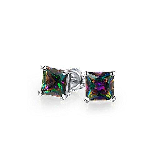 .75 Quadratische schwarze Mystic Rainbow Princess Cut Zirkonia CZ Ohrstecker 925 Sterling Silber Schraube 6 mm