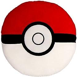 Kompanion Almohada Pokemon Redonda Grande de 30CM – Peluche Cojín de Felpa Suave con Diseño de Pokemon Catch PokeBall Poke Bola - Juguetes Pokémon Go