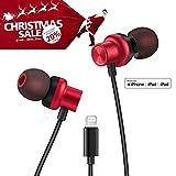 PALOVUE Earflow Plus in-Ear Lightning Kopfhörer Magnetische Ohrhörer MFi Zertifiziert mit Mikrofon Controller für iPhone X/XS (Max)/XR iPhone 8/8 Plus iPhone 7/7 Plus (Metallic Rot)