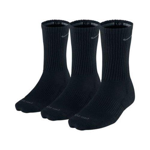 Nike Herren Dri-Fit gepolsterten Crew Socken - 3er-Pack (Schwarz, Schuh Größe: 8-12) -