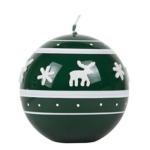 holzalbum Álbum de Madera, Vela esférica, diámetro de 80 mm, Vela de Navidad, árbol de Navidad Verde, Reno Cera, Vela de Bola