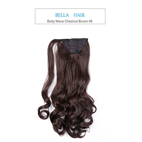 Bella Hair Remy Synthétique Handmade Extensions Queue De Cheval Cheveux à Corps Vague 20 Pouces Couleur Naturelle Chestnut Brown #6