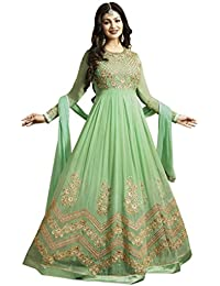 Ethnic WingsWomen Designer Georgette Green Embroidered Semi Stitched Long Anarkali Suit(Ethnic _ERTY10476_Green_Free...