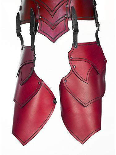 Andracor - Große geschuppte Beintaschen - Leder Rüstung für Oberschenkel in geflammter Optik - LARP Mittelalter & Cosplay - Rot / Befestigung an der Rüstung
