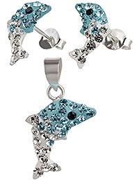 SL-Silver pendientes de los niños y colgante delfín de cristal aqha-blanco de plata 925