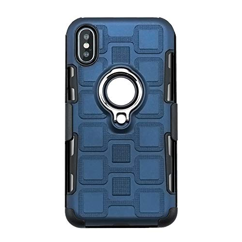 3C-LIFE iPhone8 Plus Swivel Ring Holder Kickstand Case, Dual Layer Rugged Tough Heavy Duty Rubber Bumper 360° Adjustable Ring Grip Stand Magnetic Car Mount Anti-Fall Cover (Navy) Rubber Case-swivel Clip