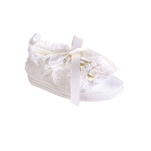 MGT-shop taufschuhe bébé satin sandales mariage baptême pour fille blanc Blanc - blanc