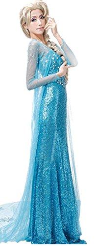 Lonely hero Damen Elegante Prinzessin Elsa Kleid mit warmer Stola Pailletten-Kleid Kostüm Cosplay Kleider - 4