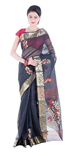 Tantuja Women's Tangail Handloom Cotton Saree Without Blouse Piece (Black)
