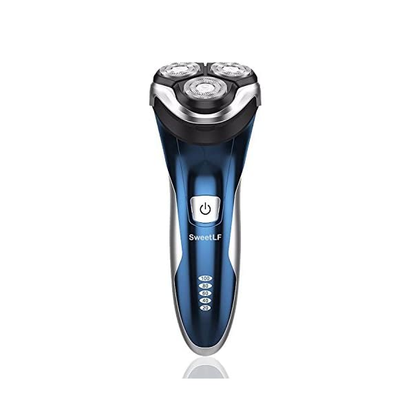 SweetLF 3D Rechargeable IPX7 Waterproof Electric Shaver Wet And Dry Mens Rotary Shavers Electric Shaving Razors With Pop Up Trimmer Blue