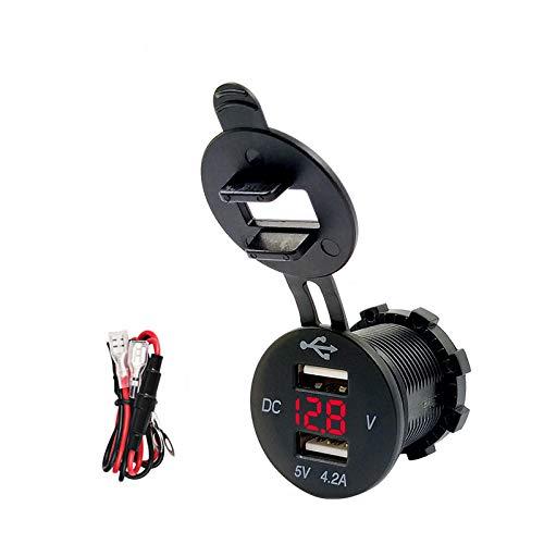 Ygl dual usb caricabatteria per auto 2.1a e 2.1a presa usb guidato voltmetro digitale adattatore di carica veloce per car boat marine(rosso)