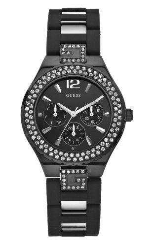 Guess Guess Sport Steel W18535L1 - Reloj analógico de mujer de cuarzo con correa de goma negra