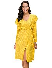 328fc379d71 TIMEMEAN Women Long Sleeve V Neck Maxi Dress Ladies Summer Evening Party  Dot Print Slim Vintage