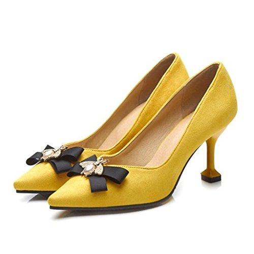 LOHU Frauen Spitzen Wildleder Pumps High Heels Frühling Sommer Charming High Heel Sandaletten Strass Gericht Schuhe (Farbe : Gelb, Größe : 37)