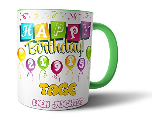 Geschenkedirekt Geburtstagstasse Kaffeebecher mit Alter in Tagen - Geburtstags-Geschenk Kaffeetasse Teetasse, Alter - Farbe:60 - Hellgelb