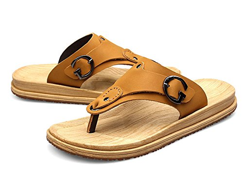 Insun Herren Sandale mit Leder Flache Hausschuhe Zehentrenner Gelb