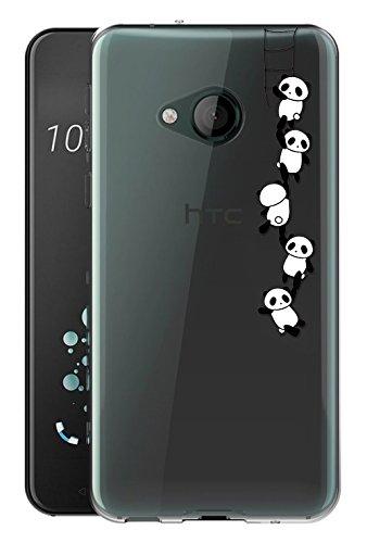Sunrive Für HTC U Play Hülle Silikon, Transparent Handyhülle Schutzhülle Etui Case Backcover für HTC U Play(TPU Panda)+Gratis Universal Eingabestift