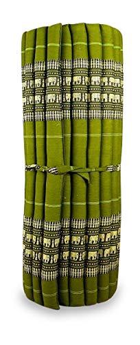 livasia Kapok Liegematte der Marke Asia Wohnstudio, 200cm x 110cm x 4,5cm; Rollmatte BZW. Yogamatte, Thaimatte, Thaikissen als asiatische Rollmatratze (grün/Elefanten) -
