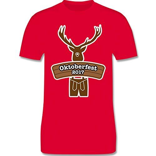 Oktoberfest Herren - Hirsch in Tracht Oktoberfest 2017 - Herren Premium T- Shirt Rot