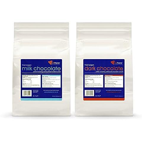Cioccolato per fontana di cioccolato al latte JM Posner, 2× 2,5kg: belga, Zartbitter