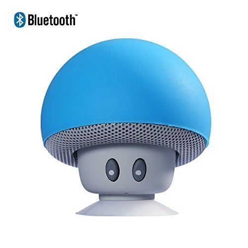 HanLuckyStars Nuevo y Lindo Mushroom Altavoz Bluetooth Portátil ,con Ventosa Manos Libres Micrófono,Altavoz Sonido Estéreo Impermeable Inalámbrico para Ducha/Piscina/Coche/baño, Compatible con Apple, iPhone 6/6S, iPad, iPod, Samsung, HTC, Blackberr, Google, LG, Nexus, Tableta, Android y Windows Smartphone, todos los móvil con Bluetooth / Dispositivos Bluetooth (Azul)