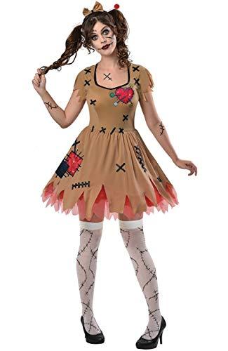 Fancy Me Damen Gruselig Gespenstisch Unheimlich Evil Voodoo-Puppe Halloween Karneval 3 Stück Kostüm Kleid Outfit UK 8-16 (Eu 36-44) - UK 14-16 (EU 42-44)