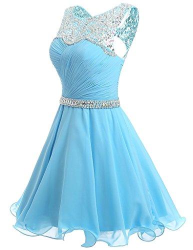 Ysmo Frauen A-Linie Rüschen Chiffon Perlen Sequins Hollow Back Kurze Heimkehr Kleid Pleats Prom Party Dress Blau