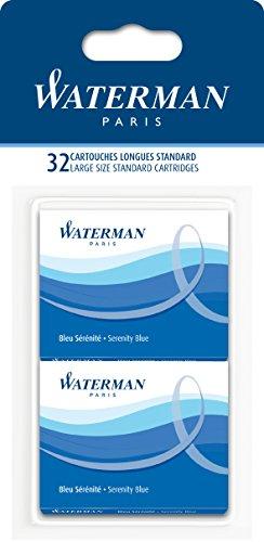 Waterman - Etui mit 8 Großraum-Tintenpatronen blau, Tinte löschbar, 4er-Set.
