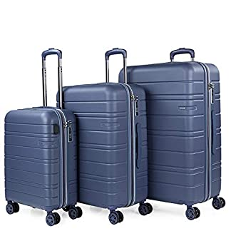 JASLEN – Juego de Maletas Rígidas con USB de Viaje 4 Ruedas Trolley ABS. Extensibles Duras Cómodas y Ligeras. Candado TSA. Tamaños Pequeña Mediana y Grande 171200