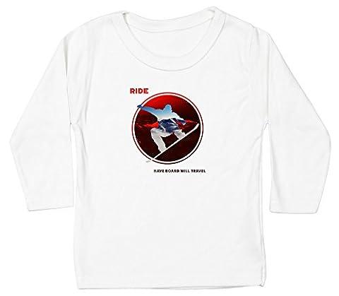 Hippowarehouse RIDE circular silhouette snowboard design baby unisex t-shirt long