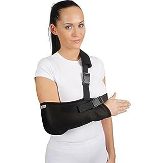 ArmoLine Arm Sling Breathable Mesh Fabric for Adult Black Broken Arm Bandage for Broken Wrist Shoulder immobilizer (M)