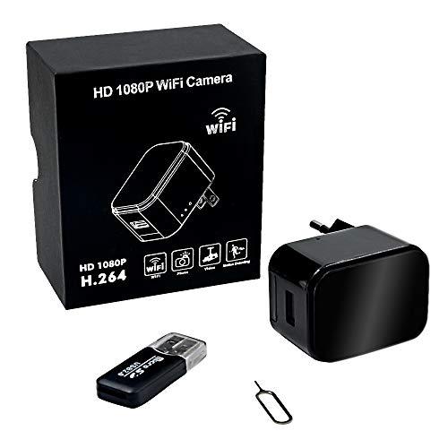 Camara Espia Oculta WiFi Cargador USB 1080P HD Cargador con Cámara TANGMI Detección de Movimiento Cámara de Seguridad Secreta Control App