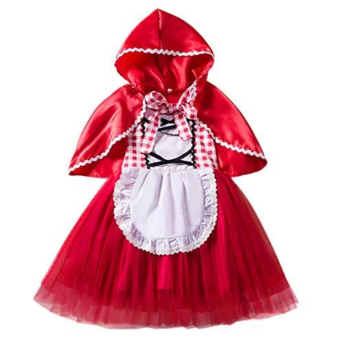 FStory&Winyee Mädchen Rotkäppchen Kostüm mit Umhang Kinder Prinzessin Tutu Kleid Rot Ärmellos Kleinkind Märchen Kostüm Karneval Verkleidung Party Weihnachten Faschingkostüm 1-6 Jahre