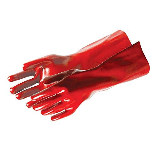 Silverline 868551 Rote PVC-Schutzhandschuhe, lange Ausführung Größe: L