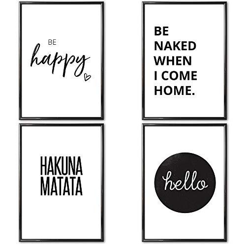 VERSCHIEDENE Poster Set 's » hello « 4 x DIN A4 auch mit Bilderrahmen | Bilder schwarz weiß mit Sprüchen für Wohnzimmer | Kunstdruck, Wandbild, Bild mit Spruch für Schlafzimmer mit Rahmen