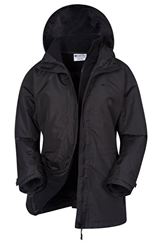 Mountain Warehouse Fell Wasserabweisende 3 in 1 Damen Winterjacke, warme Fleecejacke, Regenjacke, Damenjacke, Funktionsjacke, Allwetterjacke, Doppeljacke, Übergangsjacke Schwarz DE 40 (EU 42)